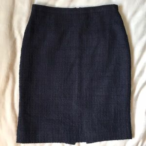 J Crew nubbly navy cotton straight skirt